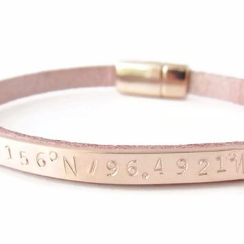 Rose Gold Personalized Coordinate Leather Bracelet