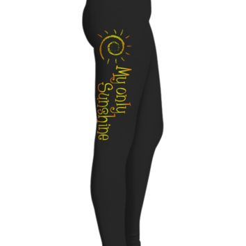 My Only Sunshine Printed Leggings for Women, Gifts for Daughter,  Black Workout Pants, Gifts for Yoga Lovers, Ultra Soft Premium High Waisted Sports Pants