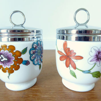 Two Royal Worcester double egg coddlers in Palmyra and Astley patterns,  baby food warmer