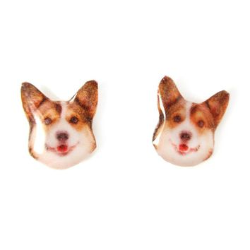 Realistic Welsh Corgi Head Shaped Animal Photo Resin Print Stud Earrings | Made To Order | Handmade