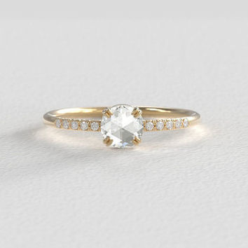 Rose Cut Moissanite Engagement Ring with Hand Pavé Canadian Diamond Band set in Recycled Gold - 5mm 0.50 Carat Center Stone