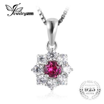 JewelryPalace Flower 0.8ct Created Ruby Halo Pendant Necklace Genuine 925 Sterling Silver Jewelry For Women 18 Inches Necklace