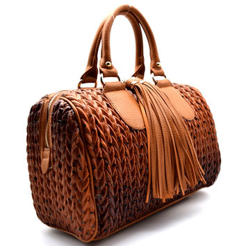 Quilted Tassel Boston Bag Purse