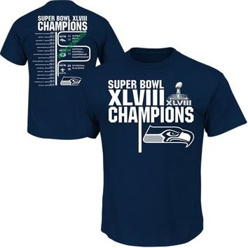 Seattle Seahawks Super Bowl XLVIII Champions Championship Way VI Schedule T-Shirt - College Navy
