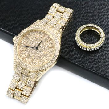 HIPHOP ICED OUT RAONHAZAE JUICY J GOLD FINISHED LAB DIAMOND WATCH & RING SET.
