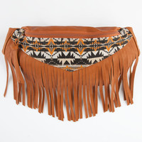 Ethnic Print Fringe Fanny Pack Cognac One Size For Women 25582640901