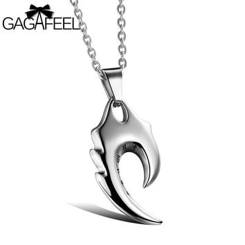 Men's Necklace Charm Punk Pendants With Six words Cool Men Jewelry Titanium Stainless Steel Chain