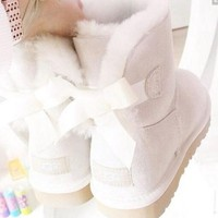 UGG Women male Fashion Wool Snow Boots A bowknot Sand white