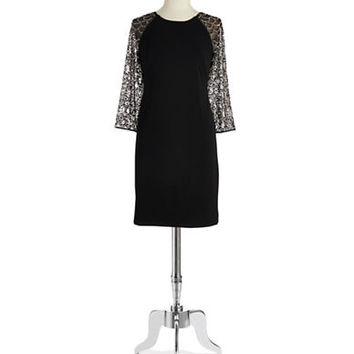 Chetta B Bead Accented Shift Dress