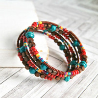 boho beach beaded memory wire bracelet, wood beads, summer, bohemian, colorful