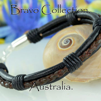 B-305 Finely Made Sterling Silver Genuine Leather Sport Wristband Men Bracelet.