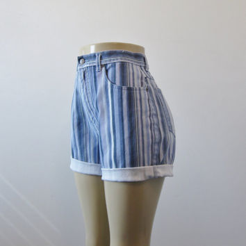 Striped High Waisted Denim Shorts Cut Off Jean Shorts Bill Blass Jean Cutoffs Womens High Waist 30