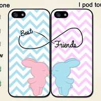Pair, Best Friend, Rabbit, personalized Iphone4 case, Iphone4s case, Iphone5 case, Iphone 5S case, 5C case, galaxy S3/S4 case, I touch case
