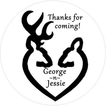 Black and White Buck and Doe Personalized Wedding Favor Stickers