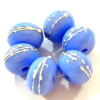 Lampwork Beads Shiny Opaque Periwinkle Blue Glass Glossy Silver 220gfs