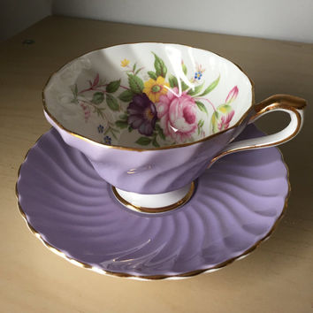 Aynsley Purple Vintage Teacup and Saucer, Flower Bouquet Lavender Tea Cup and Saucer, English Floral Bone China