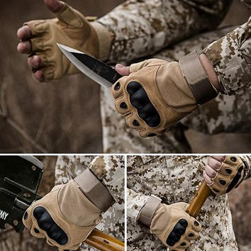 Tactical Fingerless Gloves Military Army Combat Anti-Skid Carbon Hard Knuckle Half Finger Sports Shoot Paintball Airsoft Gloves