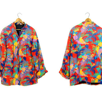 Vintage 70s Parrot Print Jacket Button Up Cotton Quilted Safari Jacket TROPICAL Coat 80s Colorful Bird Kimono Jacket Red Green Yellow Large