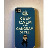 Keep Calm and Gangnam Style Apple iPhone 4 / 4S BLUE Case (301w): Everything Else