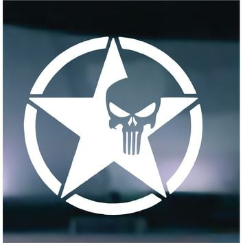 US Army Star Punisher Skull Vinyl Graphic Decal