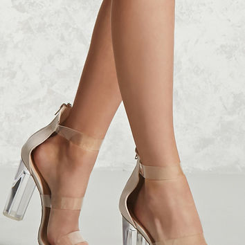 Faux Suede Lucite Ankle Heels