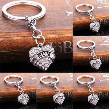 Christmas Gift Crystal Heart Keychain  Family Members and Friend  Letter Key Ring Presents for Family and Friend