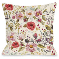 """""""Wild Flower Patch"""" Outdoor Throw Pillow by OneBellaCasa, 16""""x16"""""""