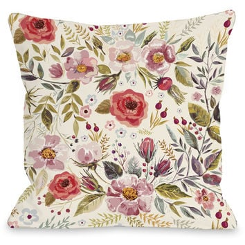 """Wild Flower Patch"" Outdoor Throw Pillow by OneBellaCasa, 16""x16"""
