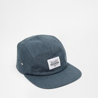ASOS 5 Panel Cap In Blue Washed Canvas