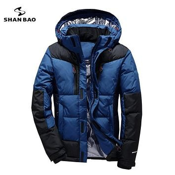 Stitching thick winter clothing young men casual down jacket Russian loose down jacket male short section