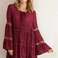 Solid Guise Baby Doll Dress - Burgundy