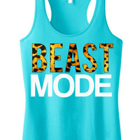 BEAST MODE Leopard on Teal Workout Tank Top, Workout Clothes, Motivational Workout Tank, Workout Shirt, Gym Tank, Gym Clothing, Crossfit