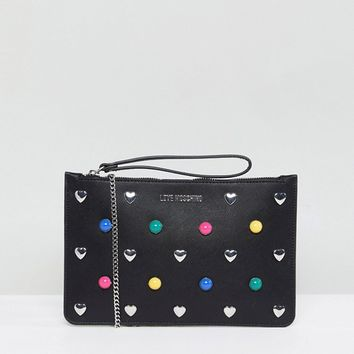 Love Moschino Heart Stud Clutch Bag at asos.com