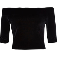 River Island Womens Black velvet bardot top