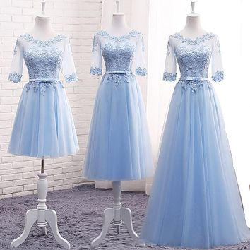 Light Blue Bridesmaid Dresses Long Embrodery Lace Half Sleeve Prom Graduation Dresses Elegant Brides Gown With Sleeves