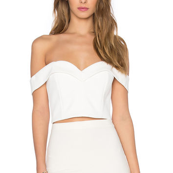 NICHOLAS Bonded Crepe Sweetheart Crop Top in White