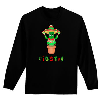 Fiesta Cactus Poncho Text Adult Long Sleeve Dark T-Shirt