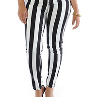 Plus-Size Black & White Skinny Jeans - Rainbow