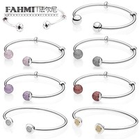 FAHMI Book Di 925 Sterling Silver Open Bangle Beauty & the Beast Bracele Rose Gold Fit DIY Charms