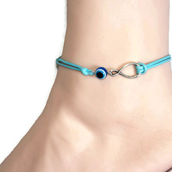 blue eye infinity anklet/bracelet, evil eye anklet, Turkish eye, silver charm mint wax cord, summer trends, lucky jewelry, personalized gift