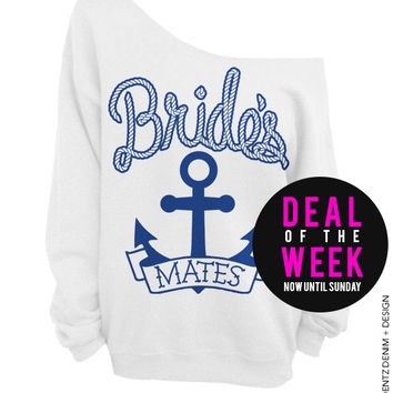 Anchor Bridesmates - White with Blue Off The Shoulder Slouchy Sweatshirt