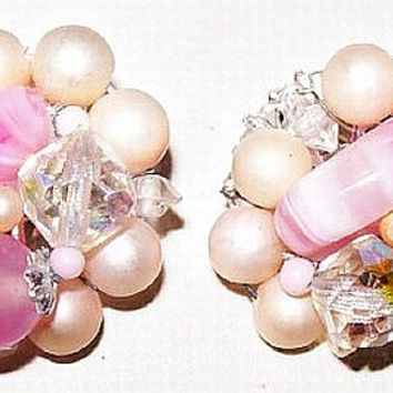 Pink Clip On Earrings Cluster Givre Glass Pearl & Crystal Beads Silver Metal Signed Japan 1950s Vintage