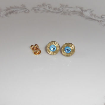 BULLET EARRINGS  w/Light Blue Swarovski Crystal- 9mm Luger - Brass Bullet Jewelry - *Bullet Bling Jewelry* - *Cuff Links - *Necklace