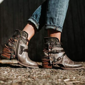 Darlene Strappy Distressed Ankle Boots 2 Colors