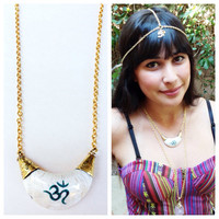 Tibetan Om Necklace. Statement necklace.