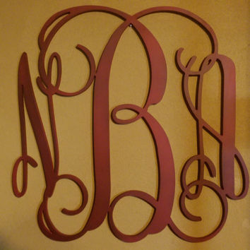 Painted Wood Monograms,  Monogram Door Hanger, Door Monogram, Vine Font, Wedding Monogram, Nursery, Monogram wood, door hanger,