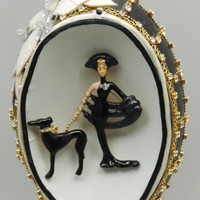 Erté's Symphony in Black Repurposed Vintage Brooch on Decorated Emu Egg Egg Ornament Egg Art Faberge Style Decorated Egg