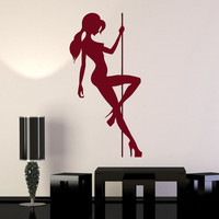 Wall Stickers Vinyl Decal Sexy Naked Girl Pole Dance Striptease (ig470)