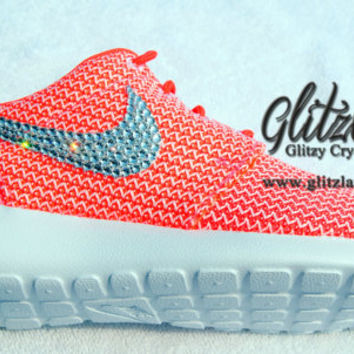 NEW!! Blinged Women's Nike Roshe Run- Lava
