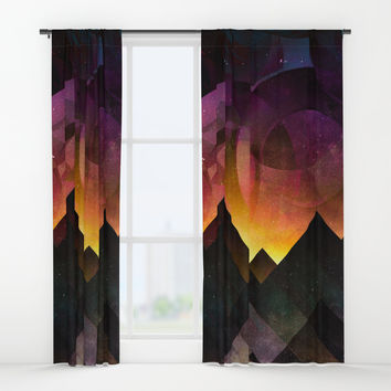 Whimsical mountain nights Window Curtains by HappyMelvin